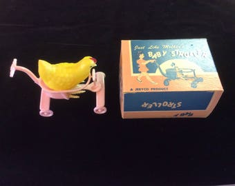 Vintage Toy Lot, Chicken in a Stroller, Original New in Box Stroller and Springy Leg Chicken