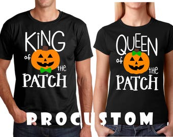 King and Queen of The Patch Halloween Couple matching funny cute T-Shirts S-4XL