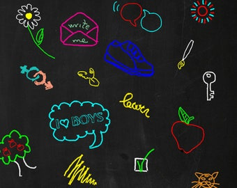 Colorful Doodles Chalkboard Printed Backdrop (CLK-SD-021)