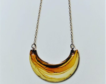 Half Moon Beige and Brown Hand Painted Necklace