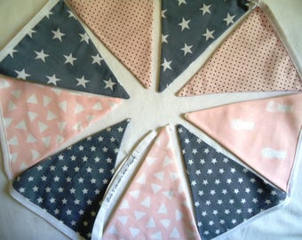 Garland pennants, graphic decoration bedroom girl, baby or child, pink & gray, pineapples and triangles / birth gift