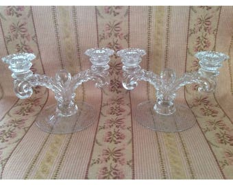 Cambridge Portia Etched Glass Candlestick Holders