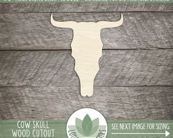 Cow Skull Laser Cut Wood Shape, Wood Cow Skull Cut Out With Horns, DIY Crafting Supply, Many Size Options, Soutwestern Style