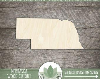 Nebraska Wood Cutout, Laser Cut Wooden Nebraska Shape, Wood State Shapes For DIY Projects, State Wedding Favor