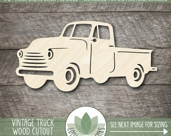 Vintage Truck Wood Cutout, Laser Cut Wood Truck, Unfinished Wood Shapes For DIY Projects, Many Size Options Available