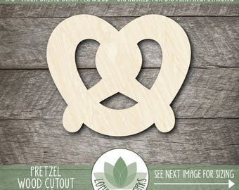 Pretzel Wood Cut Out, Laser Cut Pretzel Shape, Unfinished Wood For DIY Projects, Many Size Options, Wood Pretzel Cut Out, Wooden Pretzel