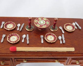 Hand-Painted Dollhouse Miniature 1/24th Scale Table Setting - Red