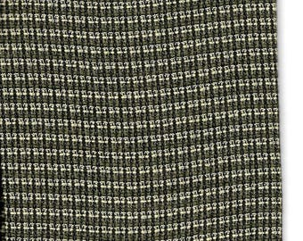 """Wool Suiting Fabric Checks Olive/Black/Off-White  27"""" x 65"""""""