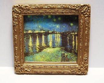 Miniature Framed Art Van Gogh Starry Night on the Rhone Picture Dollhouse Diggs 1:12 Painting