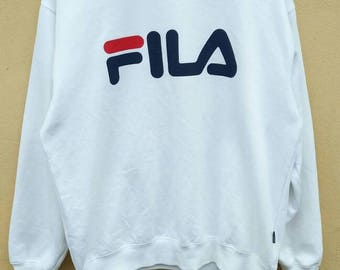 FILA Big Logo Vintage 90's FILA Spell Out Big Logo Streetwear Sweatshirt Long Sleeve Tee T Shirt Hiphop Rapper