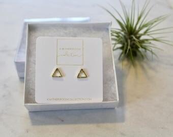 Cut Out, minimalist, triangle, geometric, Gold Stud Earrings,