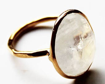 Faceted Semi-Precious Natural Stone 18ct Gold Plated Moonstone Statement Ring - Size 8 & 9
