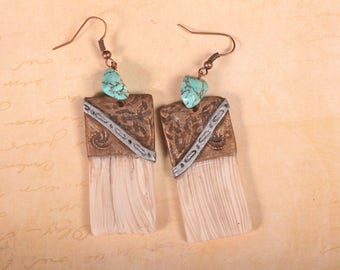 Faux bone and turquoise earrings