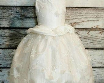 3d floral lace ivory flower girl dress,flower girl dress,ball gown flower girl dress,flower girl dress,tulle flower girl tutu dress
