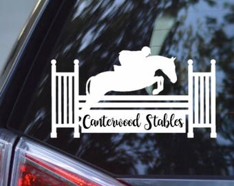 Hunter Derby/Hunter Jumper Horse w/ Fence Vinyl Car Decal - 100% Personalizable! Add Barn Name.. READ DISCRIPTION - Equestrian Sticker