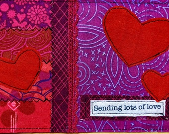 Quilted postcards - sending lots of love