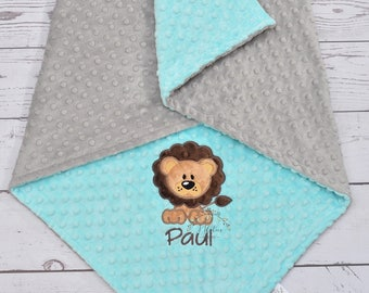 Personalized baby blanket-Personalized Lion Minky Baby Blanket Boy-Lion Boy Blanket-Girl Lion Blanket-Zoo Animal Blanket-Personalized Boy