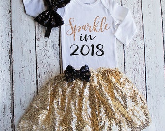 Baby Girl New Years Outfit, Baby Girl New Years Bodysuit /Top, 1st New Years Outfit / Gold Black New Years Outfit, Sparkle in 2018