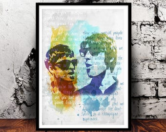 Oasis (Noel and Liam Gallagher) A4 watercolour print, 220gsm canvas textured paper *FREE UK P&P*