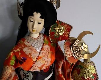 """Vintage Nyngyo Collectible Geisha Doll Bijin Kimono Kabuto Kyoto Craftsmen18"""""""