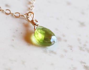 Gifts for Her, August Birthstone, Peridot Necklace, Gold Peridot Necklace, Dainty Necklace, Gifts For Her