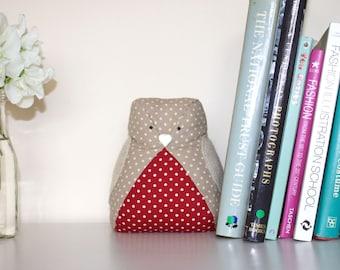 Fabric Robin doorstop, robin bird, ornament, bookend, weighted doorstop, cute robin, custom personalised.