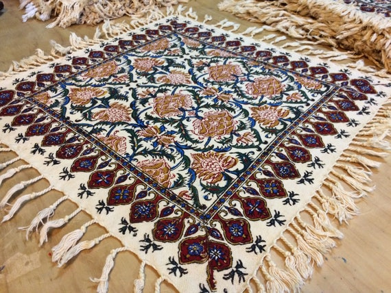 """Square tablecloth, 16"""" floral table top, natural colours with tassels"""
