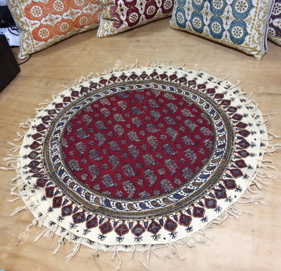 "Red round tablecloth, 24"" paisley table top, natural colour tablecloth"