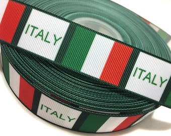 "1"" Italian Flag Ribbon, Italy Flag Ribbon, Italy Ribbon, Italy Grosgrain Ribbon"