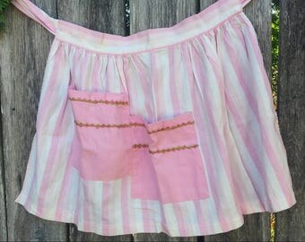 Pink striped half apron from the 50's/vintage apron/50's apron/candy striped apron/vintage half apron/half apron/gifts for her