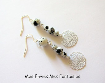 Collection DALMATIAN earrings black and white print white rosette
