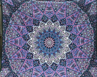 Star Mandala fabric - Colors include pink, black and more - College, dorm, wall hanging elephant tapestry boho