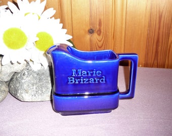 Vintage French Ceramic Marie Brizard Pitcher Decanter Jug Tartan Cobalt Blue France Liqueurs