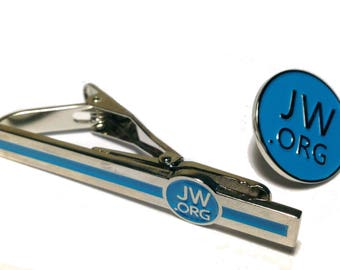 "JW.org 2 1/4"" Blue Tie Clip For Necktie With 3/4"" Lapel Pin Tie Bar Watchtower"
