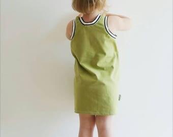 Green Summer Dress - Baby Dress - Toddler Dress - Modern baby dress - Sporty Baby Dress - Organic Dress - Retro Dress - Trendy baby Dress
