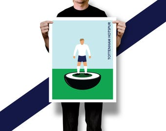 Retro Illustrated Subbuteo Style Table Football Player Poster Print [ TOTTENHAM HOTSPUR ] A5 A4 A3 A2