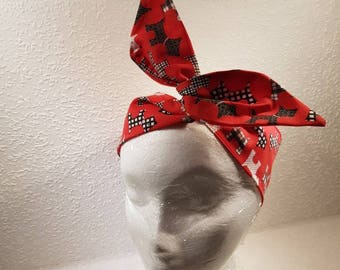Wired Headband / hairband / red with scottish terrier prints