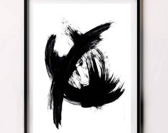 Brush Print, Best Selling Item, Modern Minimalist, Contemporary Print, Black and White Abstract,