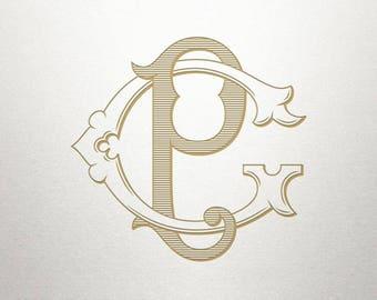 Vintage Wedding Monogram - GP PG - Wedding Monogram - Digital