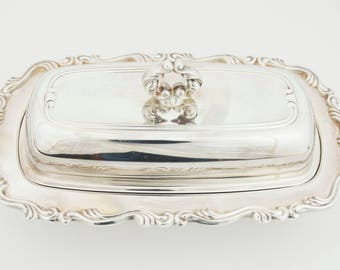 3 piece Silver Covered Butter Dish