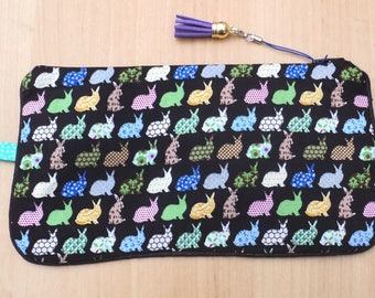 """Flat clutch / pouch """"bunnies colored black background"""""""