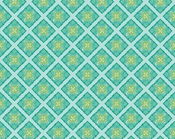 Sale Primavera Tile in Teal Cotton Fabric by Patty Young for Riley Blake