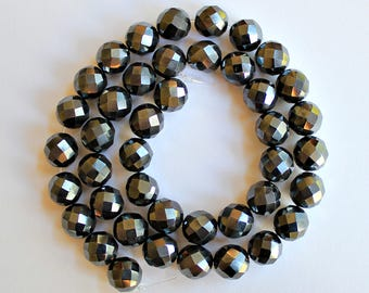 Natural Hematite Faceted Round 9mm Loose Beads, Natural Hematite Beads, Semi precious Gemstone Beads, Wholesale Beads, Gemstone Beads