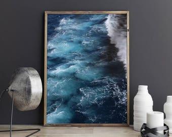 Ocean Art Print, Waves, Water, Coastal Wall Decor, Beach Art, Large Printable Poster, Digital Download, Modern Minimalist, Turquoise Blue