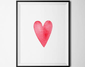 Heart Printable Heart Nursery Wall Art Valentine's Day Decoration Heart Prints Pink and Red Hearts Valentine's Day Decor Pink Nursery Decor