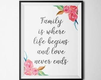 Family is Where Life Begins and Love Never Ends Floral Print Motivational print Family Quote Wall Decor Home Wall Decor Wall Art