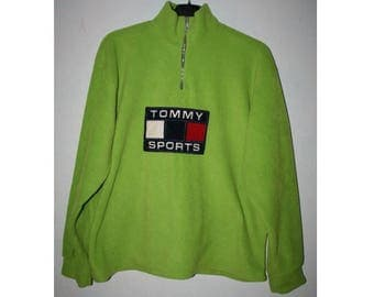 TOMMY HILFIGER sweatshirt vintage neon green shirt, 90s hip-hop clothing, 1990s hip hop shirt, Tommy big logo, og, gangsta rap, size L Large