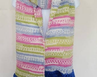 Extra long knitted multi coloured scarf