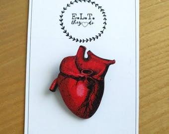 anatomic heart brooch, wooden brooch, laser cut brooch