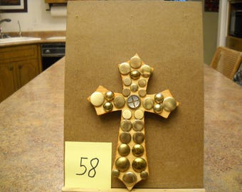 Wooden Cross with Vintage Buttons, Item # 58
